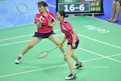 (L to R) Shiho Tanaka, Miri Ichimaru (JPN), JULY 10, 2013 - Badminton : The 27th Summer Universiade 2013 Kazan Women's Doubles Quarterfinals Match 1 at Tennis Academy, Kazan, Russia. (Photo by AFLO)