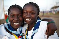 Santitchia Kimberly Tolie and Kelousha Nvida Trieste from Suriname in Summer town. Photo: Magnus Fröderberg/Scouterna