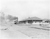 D&amp;RGW #268 at the Gunnison depot. 1954 Buick parked at the depot.<br /> D&amp;RGW  Gunnison, CO  Taken by Krause, John - early 1950