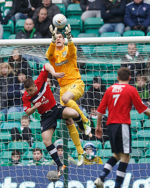 Fraser Forster makes a save from John Baird