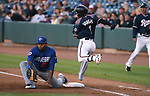Las Vegas 51s&rsquo; Dominic Smith scoops a short-hopper but Reno Aces&rsquo; Ildemaro Vargas gets called safe on the play during a game in Reno, Nev. on Saturday, June 3, 2017. The 51s won 9-5.<br /> Photo by Cathleen Allison/Nevada Photo Source