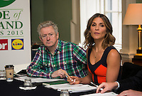02/04/2015<br /> (L to R ) Louis Walsh Entertainment Manager &amp; X factor judge,<br /> Amanda Byram host of Pride of Ireland Awards<br /> during the Pride of Ireland judging day in the Mansion House, Dublin.<br /> Photo:  Gareth Chaney Collins