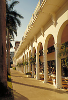 Colonnade of the front of the aristocratic, old Palm Beach Hotel in Palm Beach , Florida. Resorts, architecture. Palm Beach Florida.