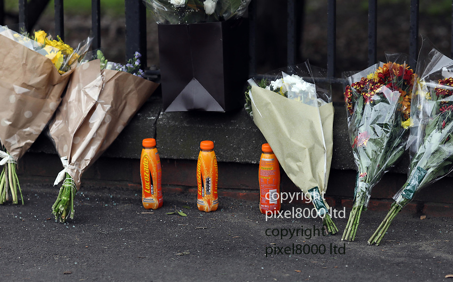 pix shows: Three Lucozade bottles left for three dead friends - at Crash scene  in Hayes where three teens died on Friday night. <br /> <br /> teenager friends of the dead boys laid flowers as well at the scene today. One said the boys had been attending a 16th birthday party of her sister. <br /> <br /> <br /> Bus stop near Esso garage on  Shepiston Lane -<br /> <br /> scrapes can been seen on the wall and a brick pillar was destroyed  <br /> <br /> <br /> <br /> Pic by Gavin Rodgers/Pixel8000 Ltd