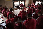 Upstairs, seven university students listen intent lesson of astrology.<br />Royal School of Astrology in Thimphu<br /> degree course of 7 years with more than 116 students