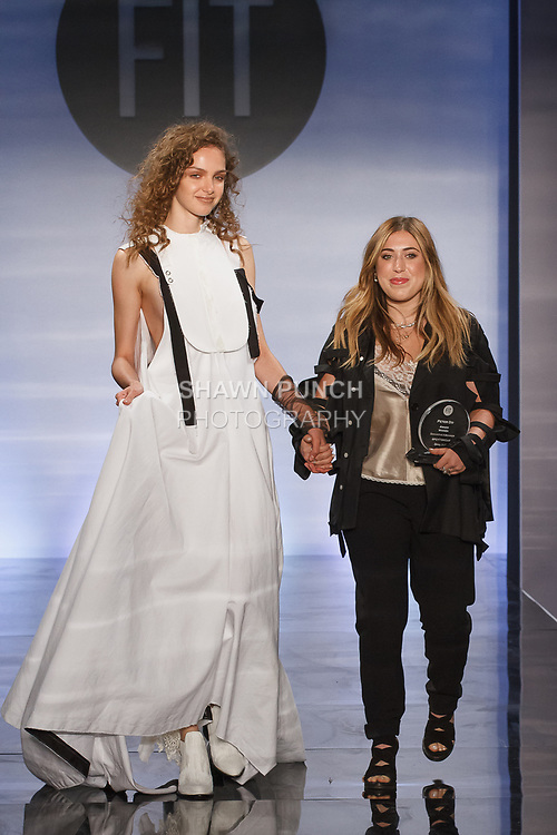 Graduating student Samantha Kirshner, won the Peter Do Critic Award, during the Future of Fashion 2017 runway show at the Fashion Institute of Technology on May 8, 2017.