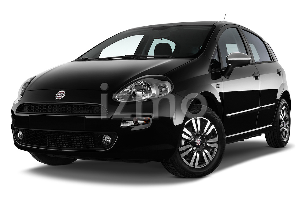 Stock pictures of low aggressive front three quarter view of a 2014 Fiat PUNTO SPORTLINE 5 Door Hatchback 2WD Low Aggressive