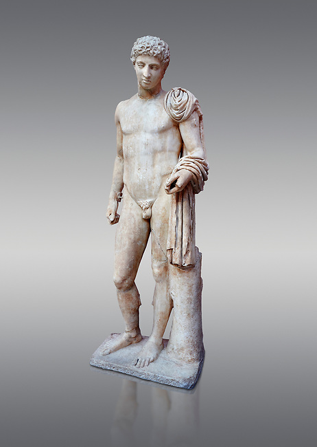 Roman marble statue of Hermes found at Aigion, Pelopenese. 27 BC - 14 AD. Athens Archaeological Museum Cat No 241. Against grey<br /> <br /> Hermes is depicted standing wearing a chalamys that is wound around his lest arm. In his right hand he holds a purse and in his left a 'caduceus'. Augustan Roman period