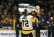 June 11th 2017, Nashville, TN, USA;  Pittsburgh Penguins right wing Patric Hornqvist (72) kisses the Stanley Cup following Game 6 of the Stanley Cup Final between the Nashville Predators and the Pittsburgh Penguins, held on June 11, 2017, at Bridgestone Arena in Nashville, Tennessee.