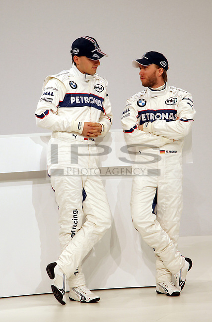 ©Jad Sherif/WRI2/TEAMSHOOT - Munich Germany 14/01/2008 ; BMW Sauber F1.08 Launch 14/01/08 ; Nick Heidfeld, BMW Sauber F1 Team..Robert Kubica (PL), BMW Sauber F1 Team..BMW Welt Munich....***************************************..GERMANY, AUSTRALIA, FINLAND,..ITALY and SWITZERLAND OUT..***************************************..© MaxPPP / IPS PHOTO AGENCY ..ONLY UK..FOR ANY INFO'S PLEASE CONTACT:..IPS photo..21 Delisle rd.. London SE28 0JD..TEL 004420883310207..FAX 00442088551037..Mob: 00447973308835....ONLY UK ONLY UK ONLY UK ONLY UK ..