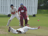 Cricket Scotland Scottish Cup Final - Watsonians CC V Heriots CC at Titwood - Glasgow - Heriots spinner Craig Adams tries juggling a caught and bowled chance to remove Watsonians Stuart Chalmers (who went on to make 54) - pic 2 of 3 - 02.9.12 - 07702 319 738 - clanmacleod@btinternet.com - www.donald-macleod.com (see story W Dick 077707 839 23)
