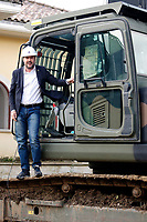 Matteo Salvini wearing an helmet, enters the scraper to start the demolition<br /> Matteo Salvini con il caschetto entra nella ruspa per dare avvio alla demolizione<br /> Roma 26/11/2018. Demolizione di una villa del clan malavitoso della famiglia Casamonica alla Romanina, Roma est. I Casamonica sono associati al crimine nella periferia sud est di Roma.<br /> Rome November 26th 2018. Another Casamonica mobster clan villa being demolished. Army started the demolition of an illegally built villa belonging to members of the Casamonica criminal clan.  The Casamonica family has been associated with crime in the south-eastern quarters of Rome for several decades.<br /> Foto Samantha Zucchi Insidefoto