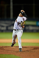 Jupiter Hammerheads relief pitcher Zech Lemond (33) delivers a pitch during a game against the Daytona Tortugas on April 13, 2018 at Jackie Robinson Ballpark in Daytona Beach, Florida.  Daytona defeated Jupiter 9-3.  (Mike Janes/Four Seam Images)