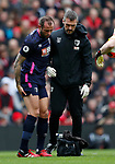 Steve Cook of Bournemouth goes off injured during the Premier League match at Anfield, Liverpool. Picture date: 7th March 2020. Picture credit should read: Darren Staples/Sportimage