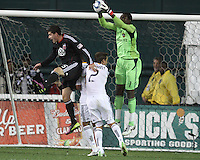 Santino Quaranta (25) of D.C. United loses the ball to Donovan Ricketts (1) of the Los Angeles Galaxy during an MLS match at RFK Stadium, on April 9 2011, in Washington D.C.The game ended in a 1-1 tie.
