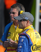 Mar 30, 2007; Martinsville, VA, USA; Nascar Nextel Cup Series driver Bobby Labonte (43) with crew chief Paul Andrews during qualifying for the Goody's Cool Orange 500 at Martinsville Speedway. Martinsville marks the second race for the new car of tomorrow. Mandatory Credit: Mark J. Rebilas