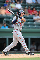 Catcher Chase Anselment (37) of the Rome Braves bats in a game against the Greenville Drive on Tuesday, August 20, 2013, at Fluor Field at the West End in Greenville, South Carolina. Rome won, 4-2. (Tom Priddy/Four Seam Images)