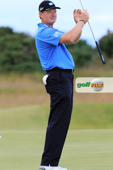 Ernie ELS (RSA) just misses his birdie putt on the 15th green during Sunday's Round  of the 144th Open Championship, St Andrews Old Course, St Andrews, Fife, Scotland. 19/07/2015.<br /> Picture Eoin Clarke, www.golffile.ie