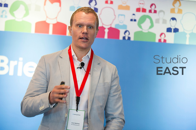 """Presentation """"Programmatic - regaining a sense of time and place"""" by Scott McBride, Chief Digital Officer, IPG Mediabrands, Singapore, during the The Trade Desk Programmatic Breakfast Briefing on 13July 2017 in the China Club, Hong Kong. Photo by Lucas Schifres"""