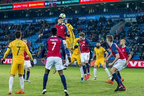 23rd March 2018, Ullevaal Stadion, Oslo, Norway; International Football Friendly, Norway versus Australia; Bjorn Maars Johnsen of Norway battles with Jackson Irvine of Australia for a header