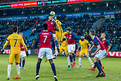 23rd March 2018, Ullevaal Stadion, Oslo, Norway; International Football Friendly, Norway versus Australia; Bjorn Maars Johnsen of Norway battles with Jackson Irvine of Australia for a header