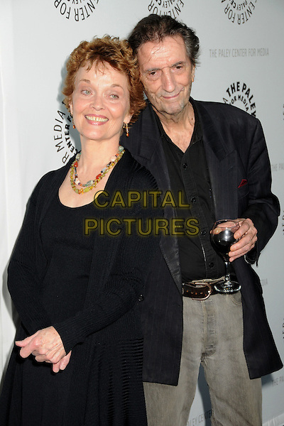 "GRACE ZABRISKIE & HARRY DEAN STANTON .The 26th Annual William S. Paley Television Festival presents ""Big Love"" held at Arclight Cinemas, Hollywood, CA, USA, 22nd April 2009..half length black beads necklace earrings stones jacket blazer drink glass of wine shirt .CAP/ADM/BP.©Byron Purvis/Admedia/Capital Pictures"
