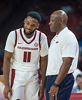 NWA Democrat-Gazette/BEN GOFF @NWABENGOFF <br /> Keyshawn Embery-Simpson of Arkansas talks to head coach Mike Anderson in the second half vs Tusculum Friday, Oct. 26, 2018, during an exhibition game in Bud Walton Arena in Fayetteville.