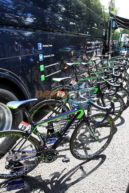 Movistar Team Canyon bikes outside the team bus at sign on in Cambridge before the start of Stage 3 of the 2014 Tour de France running 155km from Cambridge to London. 7th July 2014.<br /> Picture: Eoin Clarke www.newsfile.ie