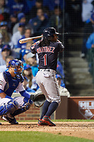 Cleveland Indians Michael Martinez (1) bats in the ninth inning during Game 4 of the Major League Baseball World Series against the Chicago Cubs on October 29, 2016 at Wrigley Field in Chicago, Illinois.  (Mike Janes/Four Seam Images)
