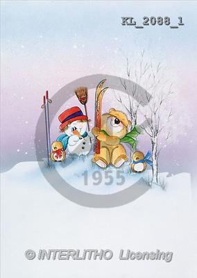 Interlitho, CHRISTMAS ANIMALS, paintings, snowman, bear, ski(KL2088/1,#XA#) Weihnachten, Navidad, illustrations, pinturas