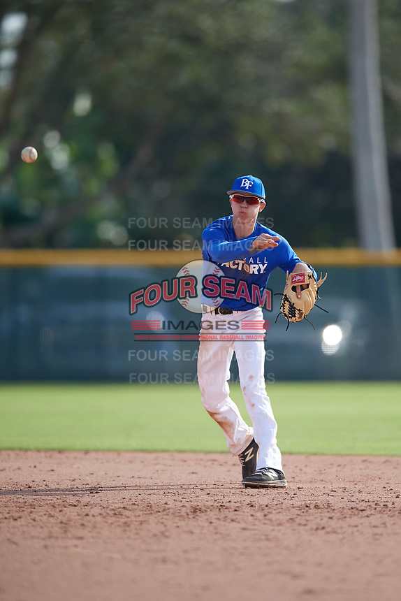 Joshua Mueller (17), from Stamford, Texas, while playing for the Dodgers during the Baseball Factory Pirate City Christmas Camp & Tournament on December 29, 2017 at Pirate City in Bradenton, Florida.  (Mike Janes/Four Seam Images)