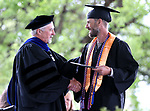 President Mark Ghan congratulates Matthew Hodges during the 2018 Western Nevada College Commencement ceremony, in Carson City, Nev., on Monday, May 21, 2018. <br /> Photo by Cathleen Allison/Nevada Momentum