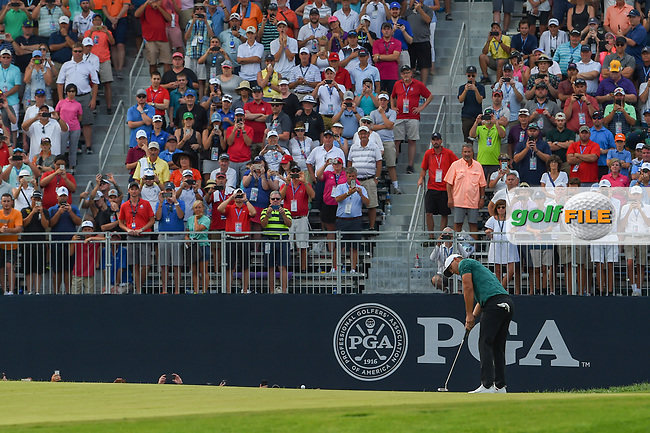 Brooks Koepka (USA) barely misses his birdie attempt on 18 before winning the 100th PGA Championship at Bellerive Country Club, St. Louis, Missouri. 8/12/2018.<br /> Picture: Golffile | Ken Murray<br /> <br /> All photo usage must carry mandatory copyright credit (© Golffile | Ken Murray)