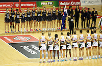 28.07.2015 Action during the Silver Fern v South Africa netball test match played at Trusts Arena in Auckland. Mandatory Photo Credit ©Michael Bradley.