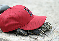 June 6, 2004:  Glove and hat of the Harrisburg Senators, Eastern League (Doube-A) affiliate of the Montreal Expos (Washington Nationals) during a game at Jerry Uht Park in Erie, PA.  Photo by:  Mike Janes/Four Seam Images