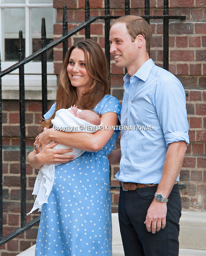 23.07.2013; LONDON : CATHERINE, DUCHESS OF CAMBRIDGE, PRINCE WILLIAM AND NEW BABY<br /> who was born on 22nd July 2013 at 8lbs 4oz, leave the Lindo Wing, St. Mary's Hospital, Paddington,London<br /> Mandatory Credit Photo: &copy;Joe Dias/NEWSPIX INTERNATIONAL<br /> <br /> **ALL FEES PAYABLE TO: &quot;NEWSPIX INTERNATIONAL&quot;**<br /> <br /> IMMEDIATE CONFIRMATION OF USAGE REQUIRED:<br /> Newspix International, 31 Chinnery Hill, Bishop's Stortford, ENGLAND CM23 3PS<br /> Tel:+441279 324672  ; Fax: +441279656877<br /> Mobile:  07775681153<br /> e-mail: info@newspixinternational.co.uk