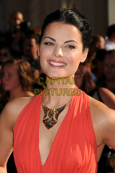 "Jaimie Alexander.Premiere of ""Captain America: The First Avenger"" held at The El Capitan Theatre in Hollywood, California, USA..July 19th, 2011.headshot portrait gold necklace pink coral smiling.CAP/ADM/BP.©Byron Purvis/AdMedia/Capital Pictures."