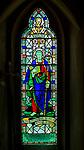 Stained glasswork window depicting Claydon church, Suffolk, England, UK c late 1940s