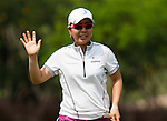 CHON BURI, THAILAND - FEBRUARY 16:  Mika Miyazato of Japan waves to the crowd after a putt on the 16th hole during day one of the LPGA Thailand at Siam Country Club on February 16, 2012 in Chon Buri, Thailand.  Photo by Victor Fraile / The Power of Sport Images