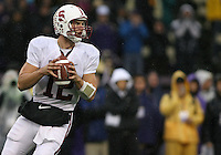 Oct 30, 20010:  Stanford quarterback #12 Andrew Luck drops back in the pocket against Washington.  Stanford defeated Washington 41-0 at Husky Stadium in Seattle, Washington...