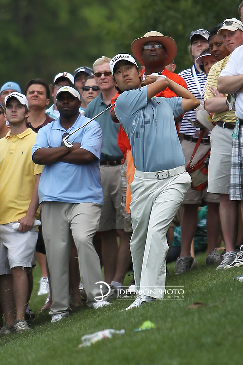 May 8,2011 - Kevin Na watches his  great downhill shot towards the eighteenth green.  Lucas Glover wins the tournament in sudden death over Jonathan Byrd at Quail Hollow Country Club,Charlotte,NC.