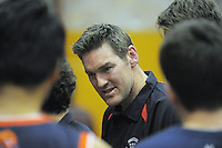 Rosmini College coach Dillon Boucher talks to his team during the 2013 New Zealand Secondary Schools basketball championship boys' semifinal against Westlake BHS at Arena Manawatu, Palmerston North, Wellington, New Zealand on Friday, 30 August 2013. Photo: Dave Lintott / lintottphoto.co.nz