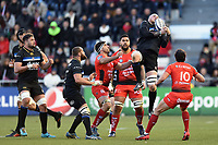 Matt Garvey of Bath Rugby claims the ball in the air. European Rugby Champions Cup match, between RC Toulon and Bath Rugby on December 9, 2017 at the Stade Mayol in Toulon, France. Photo by: Patrick Khachfe / Onside Images