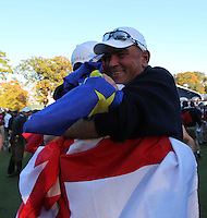 Celebrations after Martin Kaymer Sinks the putt on the 18th during Sunday's singles matches at the Ryder Cup 2012, Medinah Country Club,Medinah, Illinois,USA 30/09/2012.Picture: Fran Caffrey/www.golffile.ie.
