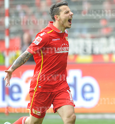 Apr. 16-2017,Stadium Alte F&ouml;rsterei,Berlin,Germany<br /> 2.Bundesliga - 29. Spieltag: 1.FC Union Berlin - 1.FC Kaiserslautern <br /> Scoored!!	Philipp Hosiner of Union celebrates after scoring the 3rd goal ,Union wins 3:1 and now is in 3rd place,ready for the relegation