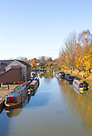 Narrowboats at the The Wharf, Kennet and Avon canal, Devizes, Wiltshire, England, UK
