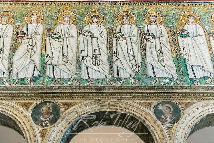 Italy, Ravenna, Basilica of Sant'Apollinare Nuovo, Procession of Martyrs Mosaic constructed in the mid-500's