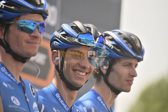 NTT Pro Cycling Team at sign on before the start of the 104th edition of GranPiemonte 2020, running 187km from Santo Stefano Belbo to Barolo, Italy. 12th August 2020.<br /> Picture: LaPresse/Marco Alpozzi | Cyclefile<br /> <br /> All photos usage must carry mandatory copyright credit (© Cyclefile | LaPresse/Marco Alpozzi)