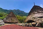 Traditional thatch-roofed homes at Wae Rebo, Manggarai, Flores. Red coffee beans are laid out to sun dry.