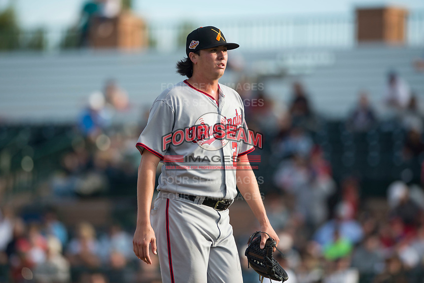 Salt River Rafters relief pitcher Jordan Mills (28), of the Washington Nationals organization, walks off the field between innings of the Arizona Fall League Championship Game against the Peoria Javelinas at Scottsdale Stadium on November 17, 2018 in Scottsdale, Arizona. Peoria defeated Salt River 3-2 in 10 innings. (Zachary Lucy/Four Seam Images)